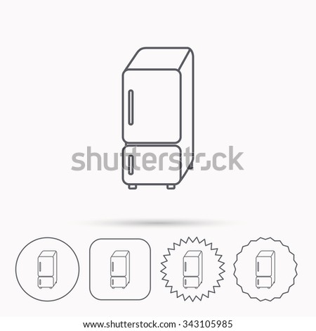 Refrigerator icon. Fridge sign. Linear circle, square and star buttons with icons. - stock vector