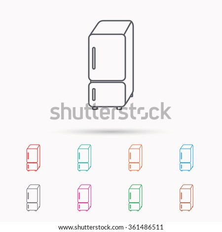 Refrigerator icon. Fridge sign. Linear icons on white background. - stock vector