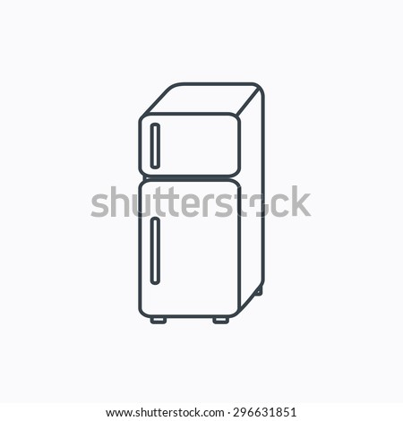 Refrigerator icon. Fridge sign. Linear outline icon on white background. Vector - stock vector