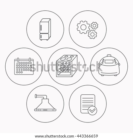 Refrigerator, multicooker and oven icons. Kitchen hood linear sign. Check file, calendar and cogwheel icons. Vector - stock vector