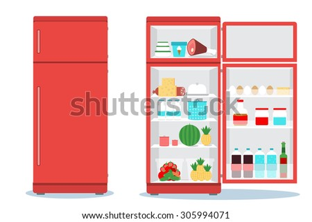 Refrigerator opened with food.Fridge Open and Closed with foods - stock vector
