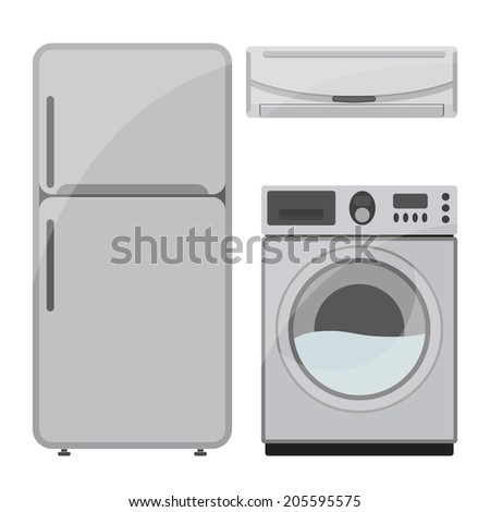 refrigerator,Washer,air conditioner,Kitchen tool collection - stock vector