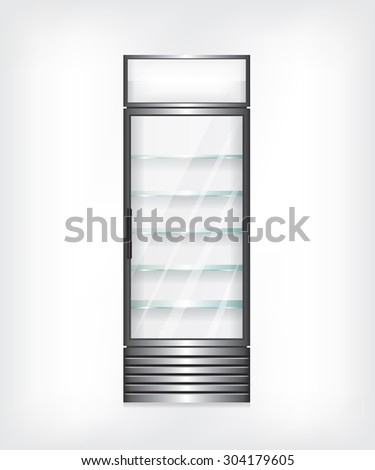 Refrigerator with glass shelves - stock vector