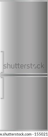 Refrigerator with two doors - stock vector