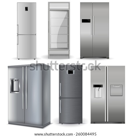 Refrigerators set. Silver fridge with two doors and glass door - Vector Illustration isolated on white background. - stock vector