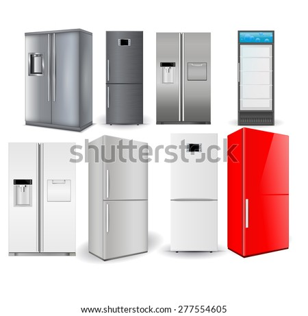 Refrigerators set. Silver fridge with two doors and glass door. Vector illustration isolated on white background - stock vector
