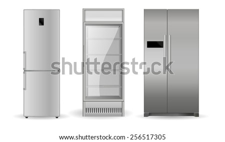 Refrigerators:  silver,  with two doors and glass door -  vector drawing isolated  - stock vector