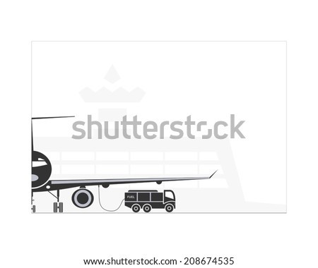 Refueling the plane on the airport. Vector illustration. EPS 10. Opacity. - stock vector