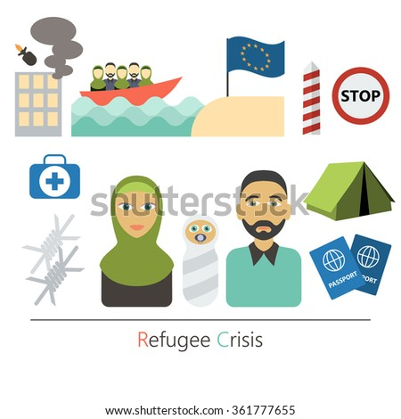 Refugee crisis flat vector concept. War victims concept. Infographic elements. Set of flat icons cartoon character design.