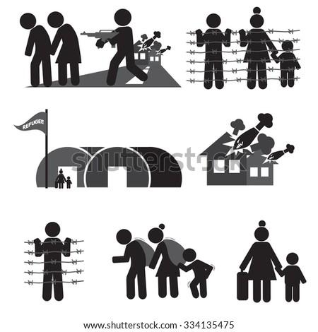 Refugee Icon Set Vector Illustration - stock vector
