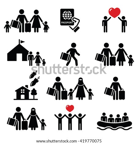 Refugee, immigrants, families running away from their countries icons set  - stock vector