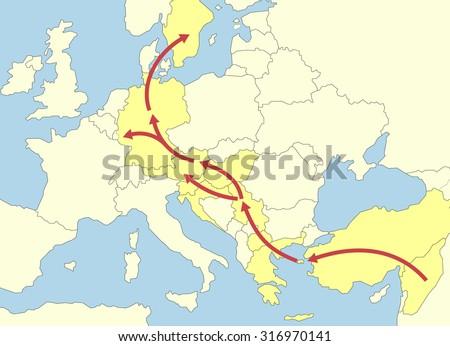 Refugee Migrant Crisis Europe - vector 2015 - stock vector