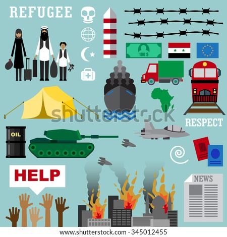 Refugee. War victims concept. Infographic elements set of flat icons cartoon character design - stock vector