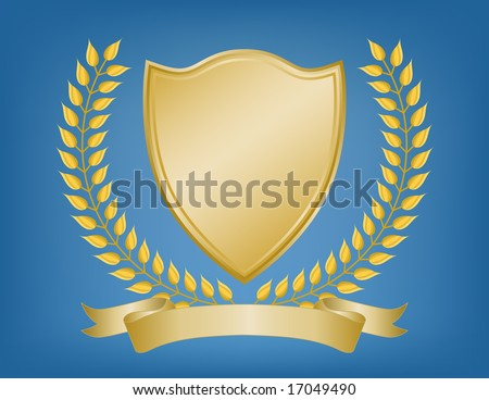 Regal gold coat of arms or shield with laurel branches and blank ribbon banner on blue background. Bevel effect on shield.