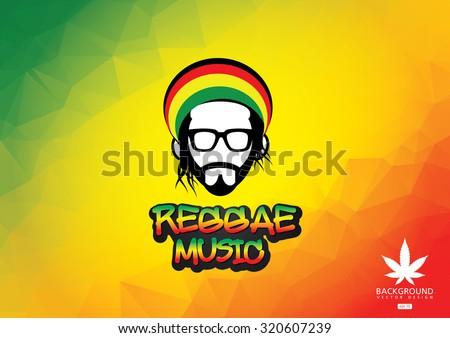 Reggae music icon.Vector illustration of rastafarian man - stock vector