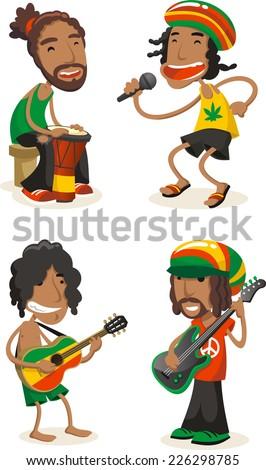 Reggae musicians cartoon set - stock vector