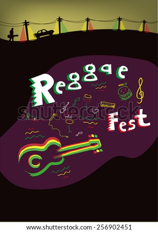 Reggae theme Poster Template with Title Text Reggae Fest. Editable illustration eps10 vector. - stock vector