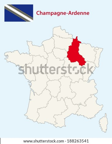 region champagne-ardenne map with flag - stock vector