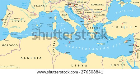Region of lands around the Mediterranean Sea. South Europe, North Africa and Near East with capitals, national borders, rivers and lakes. English labeling and scaling. Illustration. - stock vector