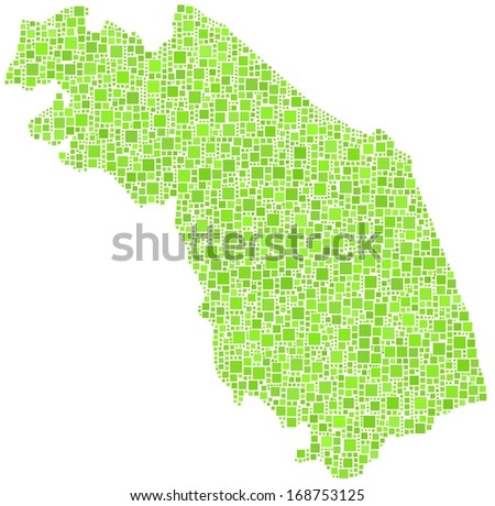 Region of Marche - Italy - in a mosaic of green squares. A number of 2670 little squares are accurately inserted into the mosaic. White background. - stock vector
