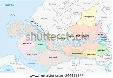 region rotterdam administrative map - stock vector
