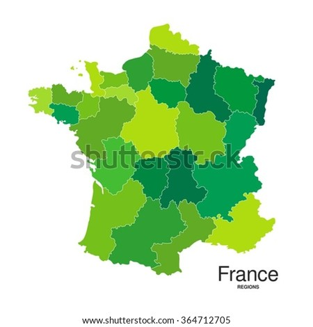 Regions map of France in green - stock vector