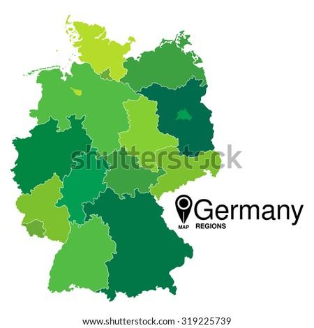 Regions map of Germany. Deutschland map - stock vector