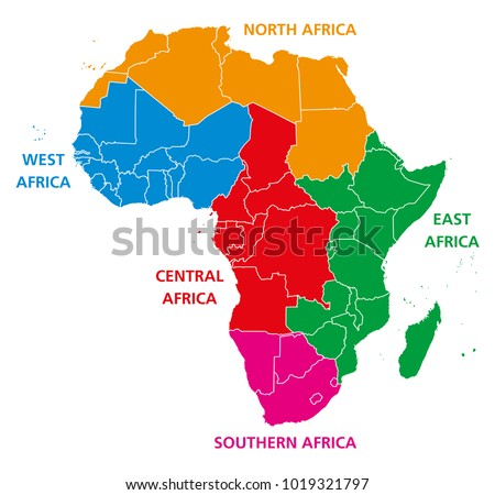 Regions Africa Political Map United Nations Stock Vector - Regions of africa