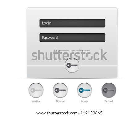 Register and Login Web Window on white background. Vector UI elements - stock vector