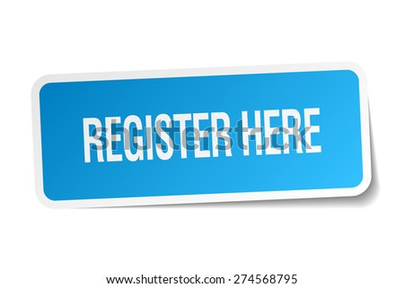 register here blue square sticker isolated on white - stock vector