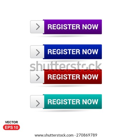 Register Now Button. New Account Button Abstract beautiful text button with icon. Purple Button, Blue Button, Red Button, Green Button. web design element. Call to action gray icon button - stock vector