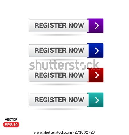 Register Now Buttons. Abstract beautiful text button with icon. Purple Button, Blue Button, Red Button, Green Button, Turquoise button. web design element. Call to action icon button. Banner Set - stock vector