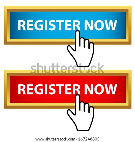 Register now set on a white background - stock vector