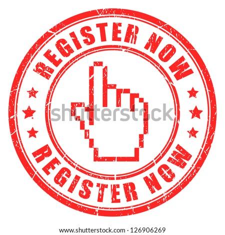 Register now vector stamp - stock vector