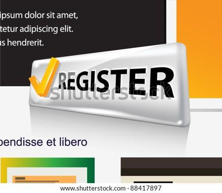 Register. Web vector button. - stock vector