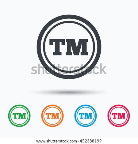 Registered TM trademark icon. Intellectual work protection symbol. Colored flat web icon on white background. Vector - stock vector