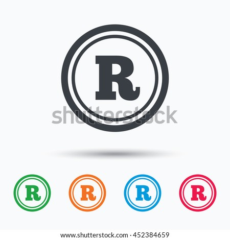 Registered trademark icon. Intellectual work protection symbol. Colored flat web icon on white background. Vector - stock vector