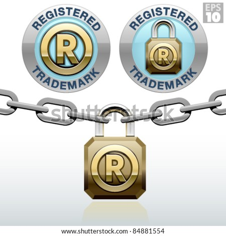 Registered trademark icon with a golden padlock and metal link chain - stock vector