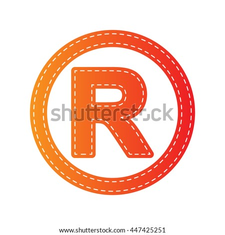 Registered Trademark sign. Orange applique isolated. - stock vector