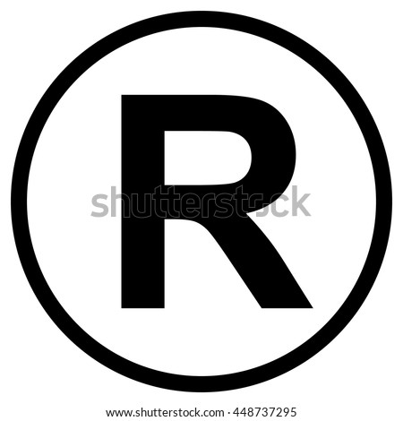 Registered Trademark symbol , isolated black vector illustration - stock vector