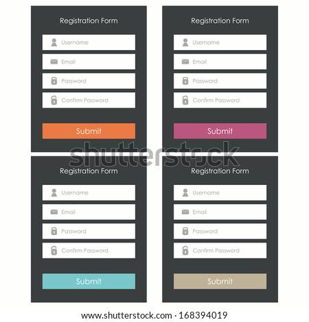 Registration form. Flat design. Template for website. Vector illustration - stock vector