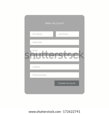 Registration form for web. Vector illustration - stock vector