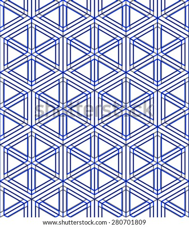 Regular colorful endless pattern with intertwine three-dimensional figures, continuous illusory geometric background, clear EPS10. - stock vector