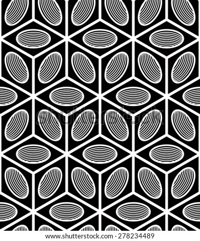 Regular contrast endless pattern with intertwine three-dimensional figures, continuous illusory geometric background. - stock vector
