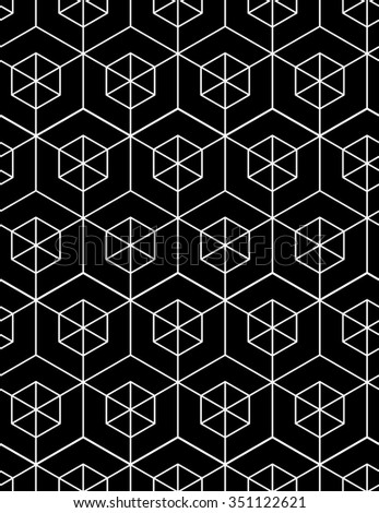 Regular contrast textured endless pattern with cubes, continuous vector black and white geometric background.