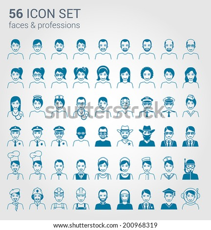Regular people and professions icon set - stock vector