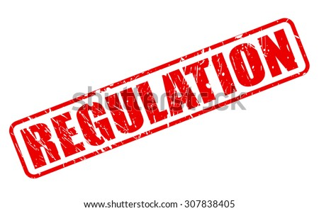 REGULATION red stamp text on white - stock vector