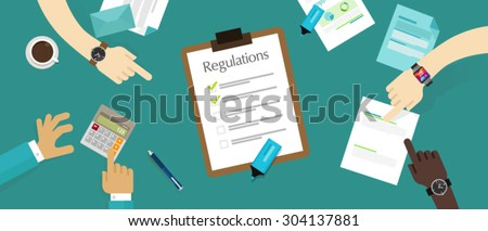 regulations board company policy check list rule - stock vector