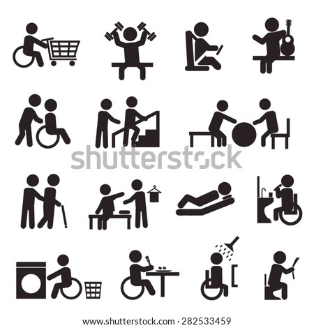 rehabilitation activities in patient with disability icon set