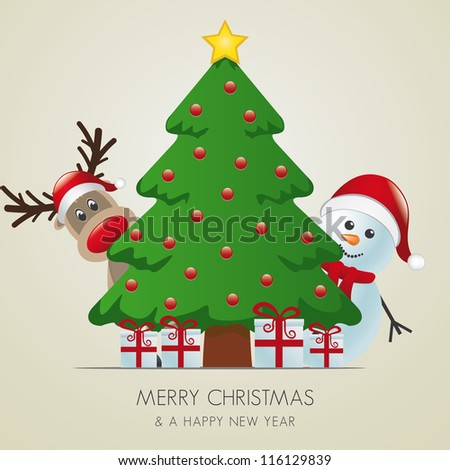 reindeer and snowman behind christmas tree gifts - stock vector